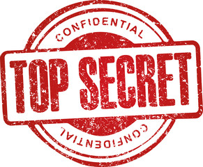 Top secret, confidential. Grunge style red rubber stamp.