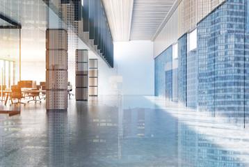 Concrete loft office, wooden columns, double