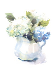 Watercolor Hydrangea Flowers Bouquet in a Vase Floral Background Texture Hand Painted Illustration isolated on white background