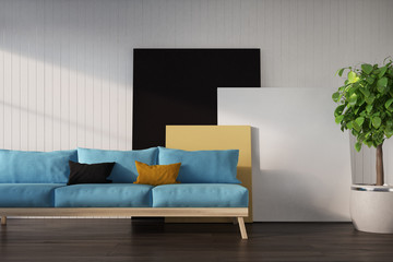 White wall, blue sofa, poster
