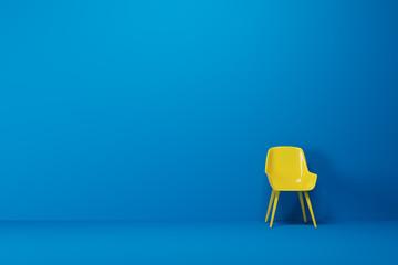 Blue empty room, yellow chair Fototapete