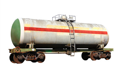 Railway tank isolated on white background. Transportation of oil and gas