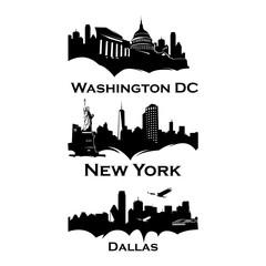 Cityscapes Skylines of america washington, new york, dallas, las vegas, hauston, los angeles, minneapolise, pittsburgh, san francisco, seattle, madison, philladelphia, miami, chicago