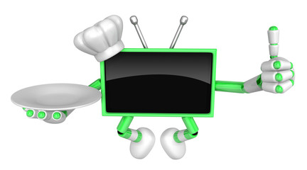 Chef Green TV Mascot the right hand best gesture and the right hand is holding a plate. Create 3D Television Robot Series.