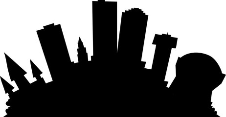 Cartoon skyline silhouette of the city of New Orleans. Louisiana, USA.