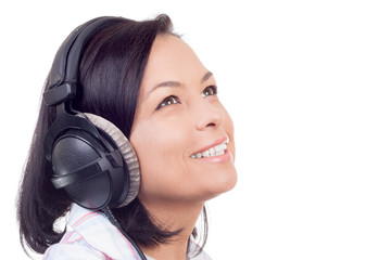 Happy Smiling Beautiful Young Woman Listening Music with Headphones