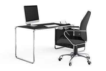 Modern Creative Workspace. Computer is on Office Table with Black Leather Chair. 3d Rendering