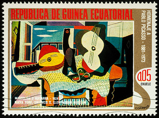 Painting Mandolin and guitar by Picasso on postage stamp