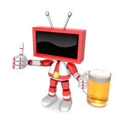 Red TV Mascot the left hand best gesture and right hand is holding a beer mug. Create 3D Television Robot Series.