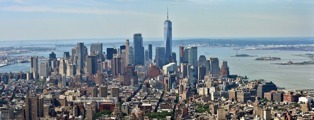 The skyline of midtown and downtown New York City.