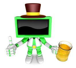Green TV gentleman Mascot the left hand best gesture and right hand is holding a beer mug. Create 3D Television Robot Series.