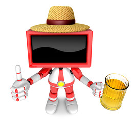 Red TV farmer Mascot the left hand best gesture and right hand is holding a beer mug. Create 3D Television Robot Series.