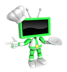 Chef Green TV Character the right hand guides and the left hand is holding a plate. Create 3D Television Robot Series.