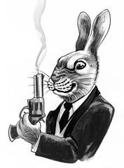 Rabbit with a smoking gun