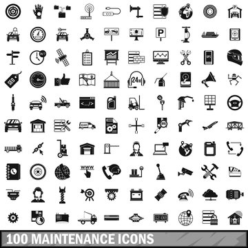 100 maintenance icons set, simple style