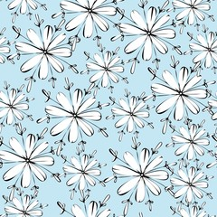 White flowers on a blue background. Seamless floral pattern for textiles, Wallpaper, packaging, scrapbooking. Simple cute flowers.