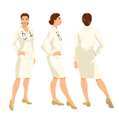 Vector illustration of young woman doctor in formal gown on white background