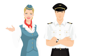 Vector illustration of pilot and stewardess in formal clothes on white background.