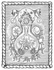 Mystic drawing with spiritual and alchemical symbols, zodiac sign Gemini concept with moon, sun and stars in frame