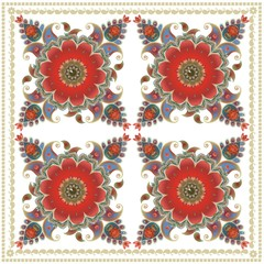 Scarf with paisley floral ornament on white background. Indian, turkish, persian motives.