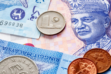 Close up picture of Malaysian ringgit, shallow depth of field.