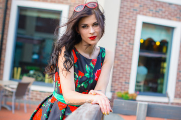 Stylish Vintage Young Woman In Retro Dress 50s Style Walk Old Town