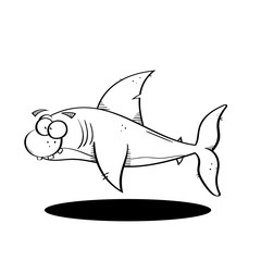 Black line cartoon shark illustration. vector, eps 10