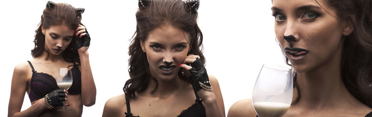Sexy catwoman. female in lingerie with cat makeup and ears.
