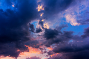 natural background of sky with clouds after a storm at sunset