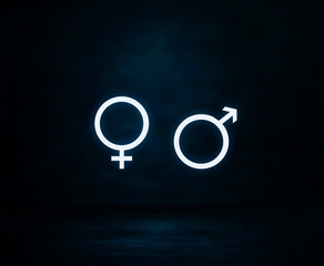 Female and male gender symbols.