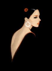 Photo sur Toile Portrait Aquarelle Elegant lady. Fashion illustration