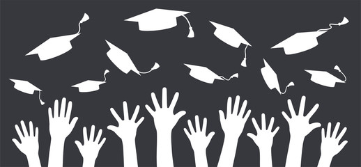 Hands of graduates throwing graduation hats in the air. Concept