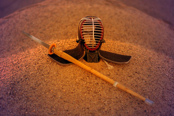 Japanese helmet for practicing Kendo