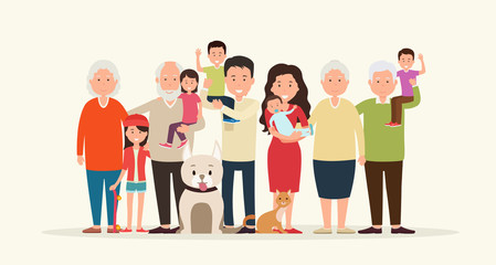 Big family together. Parents and children, grandparent along wit