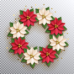 Christmas star. Paper poinsettia red and white flowers wreath. Vector illustration icon isolated.