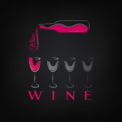 Wine set of bottle and glasses in silhouette line vector illustration. Wine logo or banner. Great idea for a print.