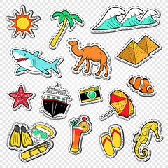 Travel to Egypt Doodle. Egyptian Landmark Stickers, Badges and Patches with Pyramids and Animals. Vector illustration