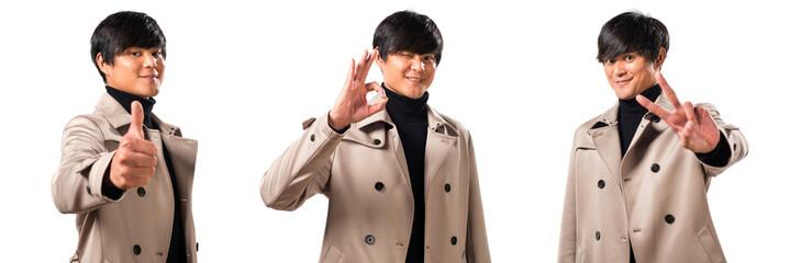 Asian handsome man making OK sign