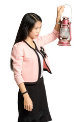 Portrait of an asian businesswoman holding a lantern in the hands. Isolated on white background with clipping path