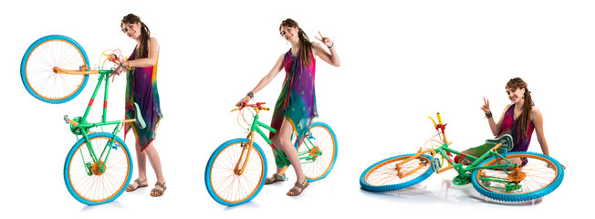 Girl with dreadlocks on colorful bike