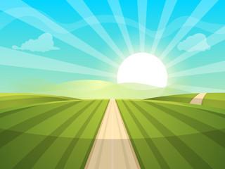 Cartoon landscape illustration. Sun. road, cloud hill Vector eps 10
