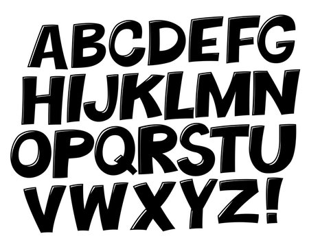 Comic black and white alphabet.  Vector set. Comic text. Comics book font.