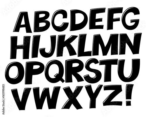 Comic black and white alphabet  Vector set  Comic text