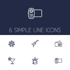Set Of 6 Cheerful Outline Icons Set.Collection Of Card, Decorative, Stars And Other Elements.