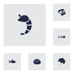 Set Of 6 Food Icons Set.Collection Of Crustaceans, Remains, Stingray And Other Elements.