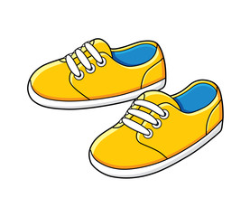 Yellow sneakers vector isolated.