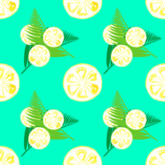 Seamless pattern with watercolor sliced lemons and palm leaves
