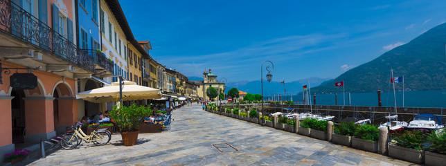 Piazza Vittorio Emanuele lll buildings and habor in Cannobio - Lago Maggiore, Verbania, Piemont, Italy Wall mural
