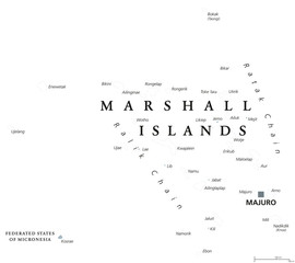 Marshall Islands political map with capital Majuro. Republic and country in the Pacific Ocean consisting of coral atolls and islands. English labeling. Gray illustration on white background. Vector.