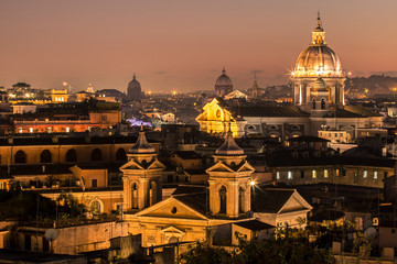 Panorama view of Rome at sunset